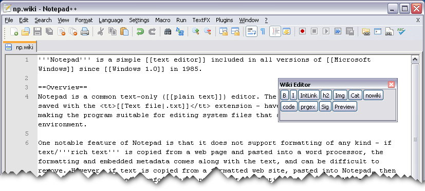 Wiki Editor Plugin for Notepad++